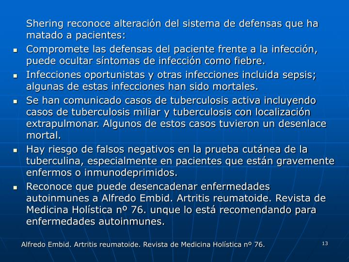 Shering reconoce alteración del sistema de defensas que ha matado a pacientes: