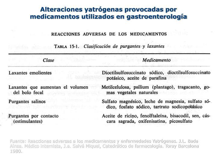 Alteraciones yatrógenas provocadas por medicamentos utilizados en gastroenterología
