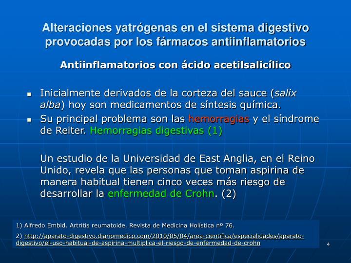 Alteraciones yatrógenas en el sistema digestivo provocadas por los fármacos antiinflamatorios