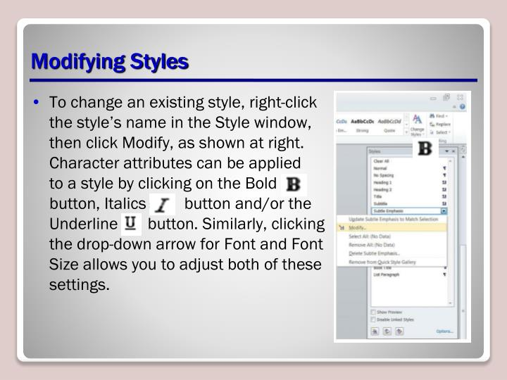 Modifying Styles