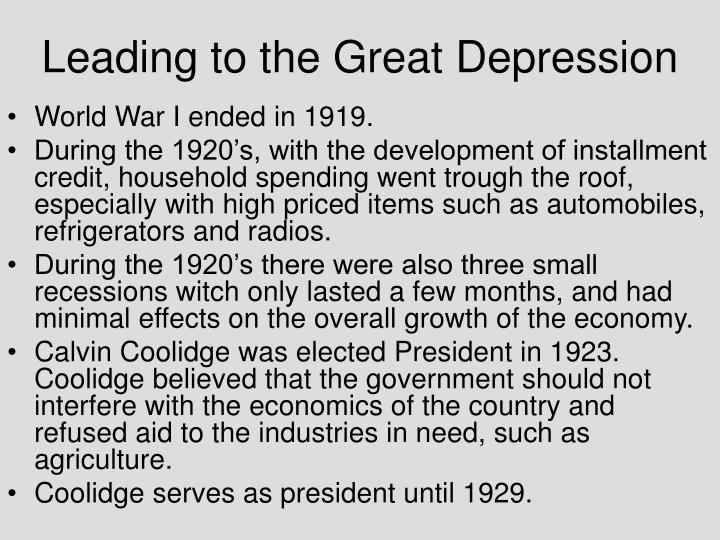 Leading to the great depression