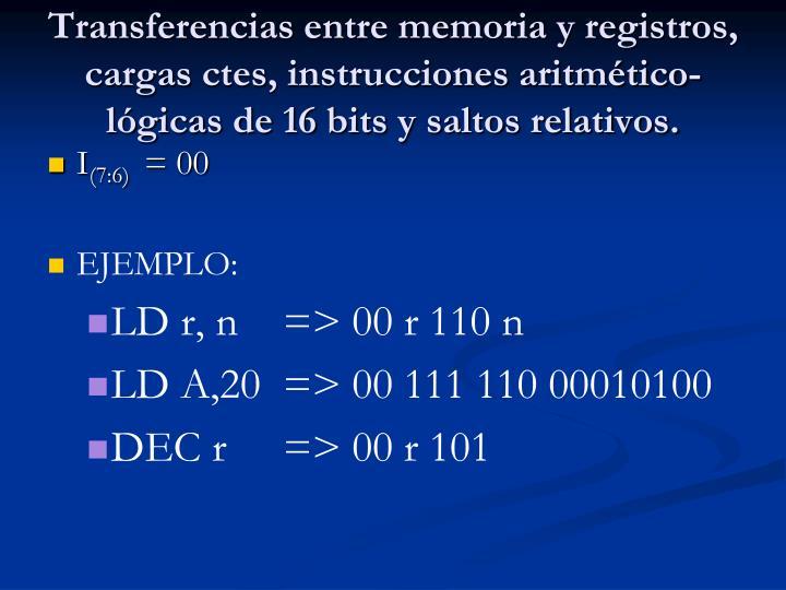 Transferencias entre memoria y registros, cargas