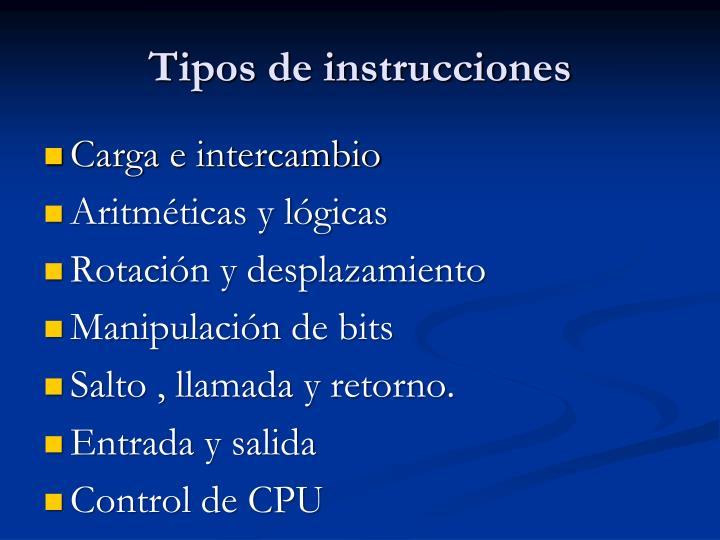Tipos de instrucciones