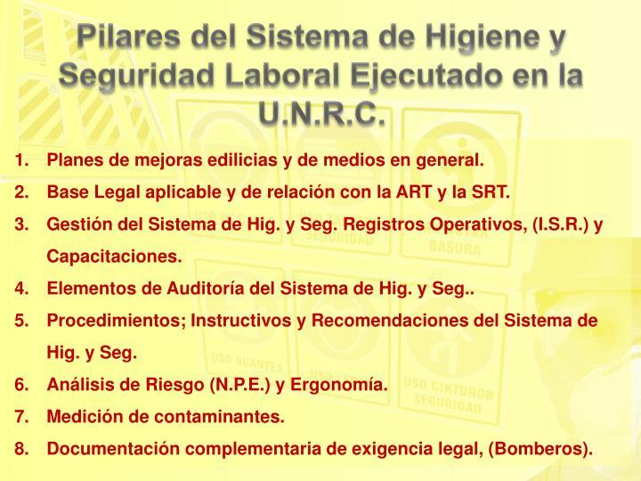 Pilares del Sistema de Higiene y Seguridad Laboral Ejecutado en la U.N.R.C.