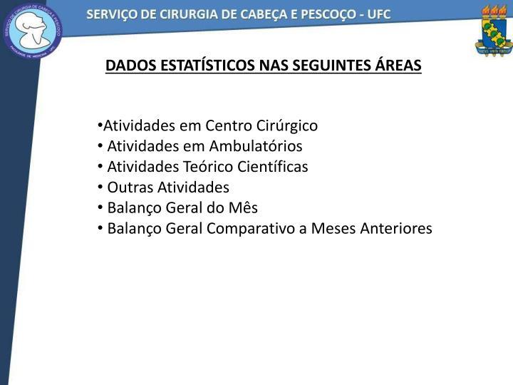 Dados estatísticos nas seguintes áreas