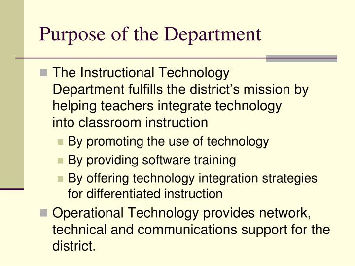 Purpose of the Department