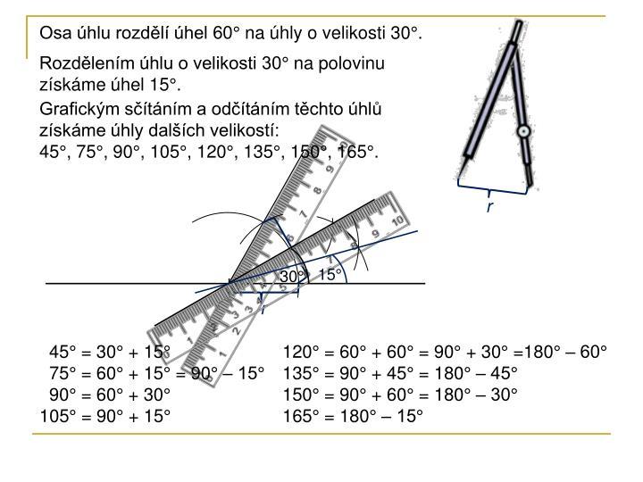 Osa úhlu rozdělí úhel 60° na úhly o velikosti 30°.