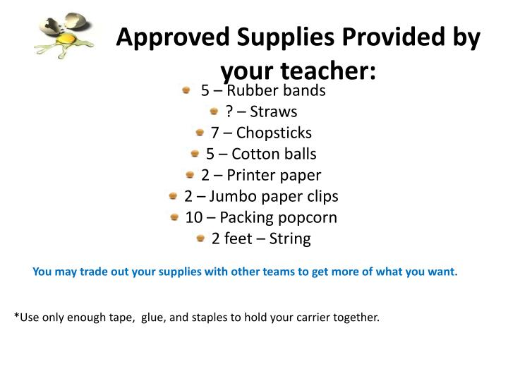 Approved Supplies Provided by your teacher: