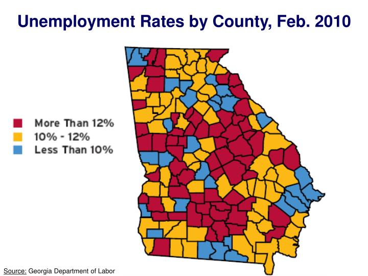Unemployment Rates by County, Feb. 2010