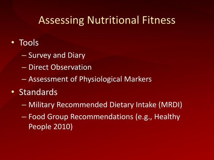 Assessing Nutritional Fitness
