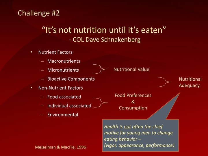 """It's not nutrition until it's eaten"""