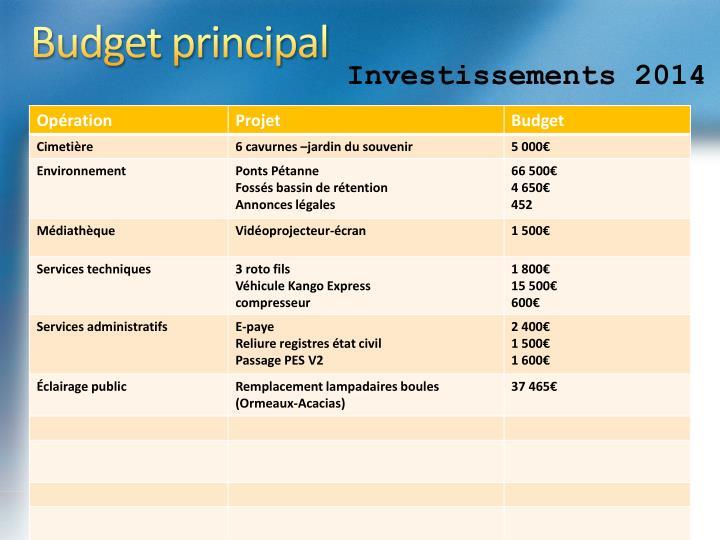 Budget principal