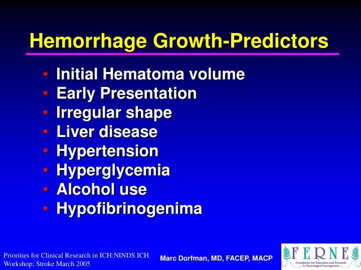 Hemorrhage Growth-Predictors