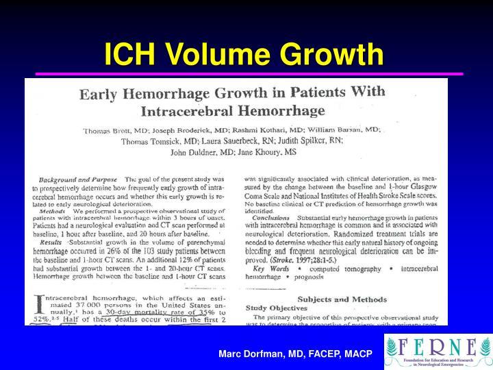 ICH Volume Growth
