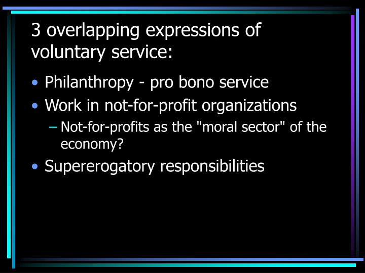 3 overlapping expressions of voluntary service: