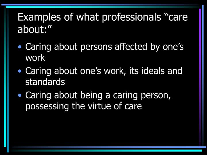 "Examples of what professionals ""care about:"""