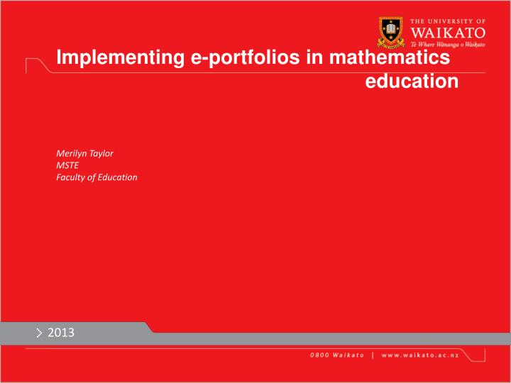 Implementing e-portfolios in mathematics