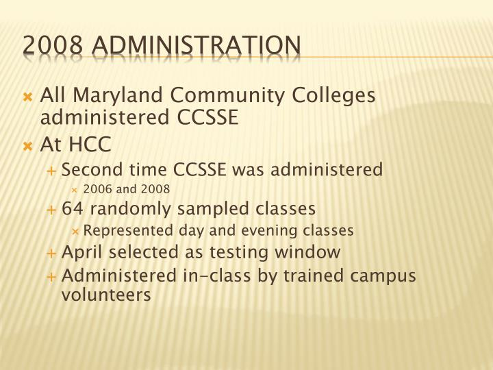 All Maryland Community Colleges administered CCSSE