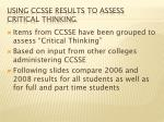 using ccsse results to assess critical thinking