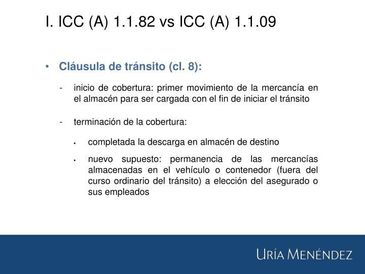 I. ICC (A) 1.1.82 vs ICC (A) 1.1.09