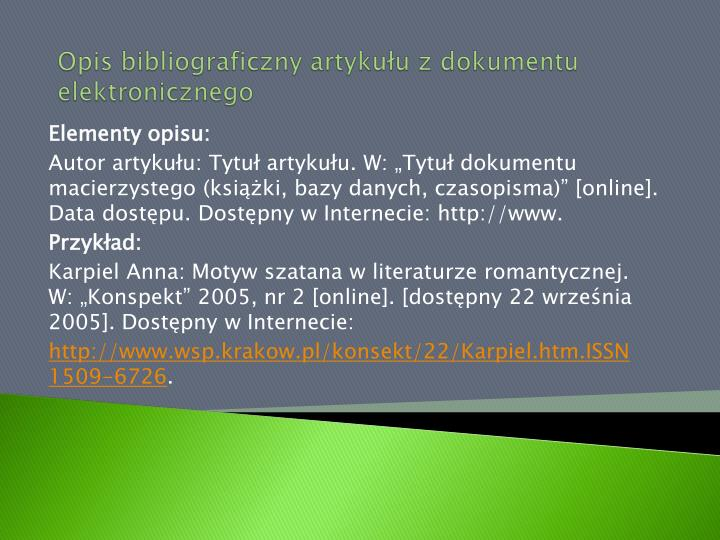 Opis bibliograficzny artykułu z dokumentu elektronicznego