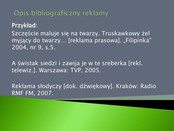 Opis bibliograficzny reklamy
