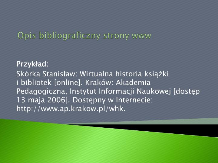 Opis bibliograficzny strony