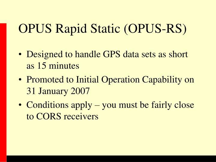 OPUS Rapid Static (OPUS-RS)