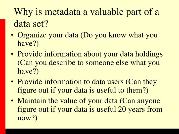 Why is metadata a valuable part of a data set?