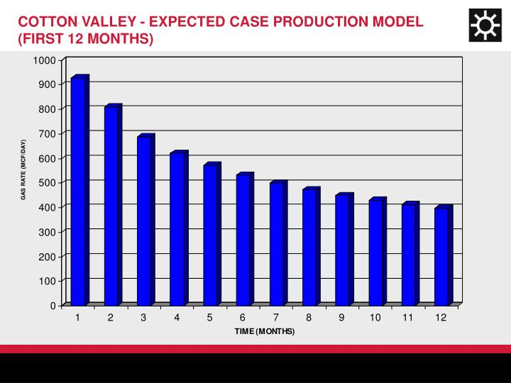 COTTON VALLEY - EXPECTED CASE PRODUCTION MODEL (FIRST 12 MONTHS)
