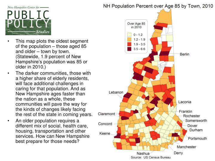 This map plots the oldest segment of the population – those aged 85 and older – town by town. (Statewide, 1.9 percent of New Hampshire's population was 85 or older in 2010.)