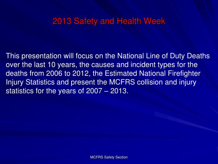 2013 safety and health week