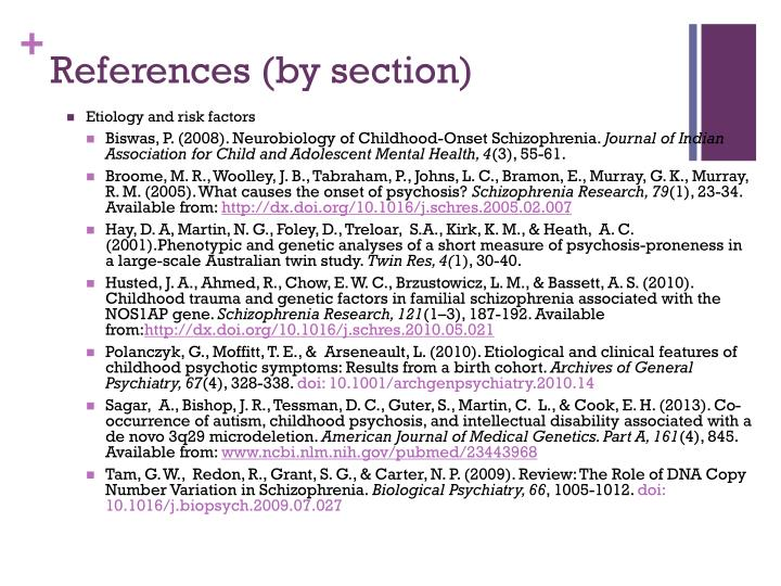 References (by section)