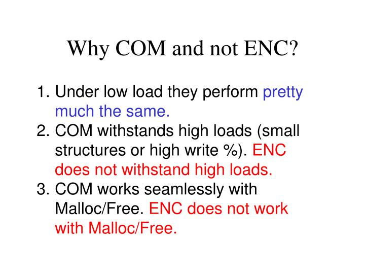 Why COM and not ENC?