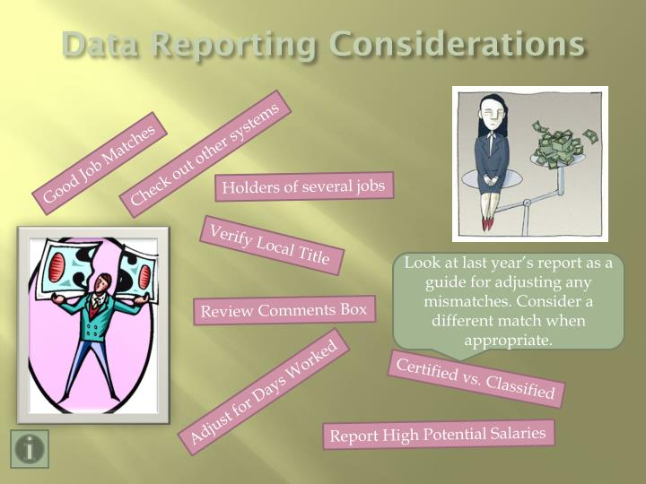 Data Reporting Considerations