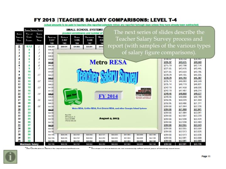 The next series of slides describe the Teacher Salary Survey process and report (with samples of the various types of salary figure comparisons).