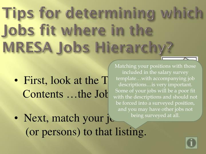 Tips for determining which Jobs fit where in the MRESA Jobs Hierarchy?