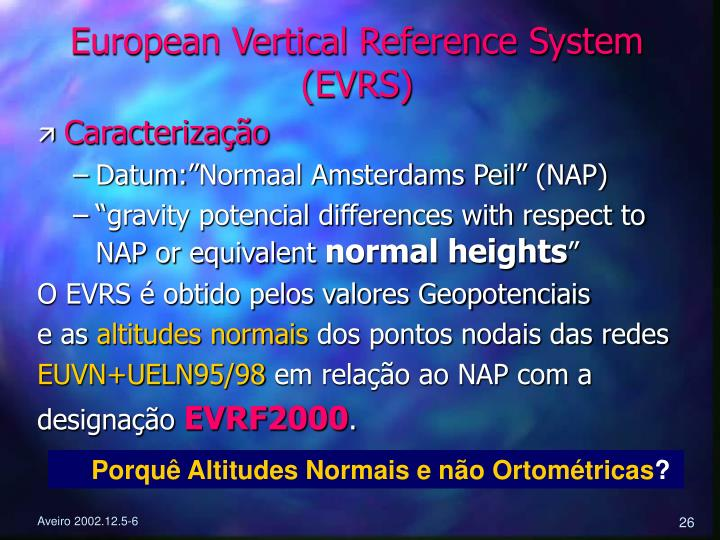 European Vertical Reference System (EVRS)