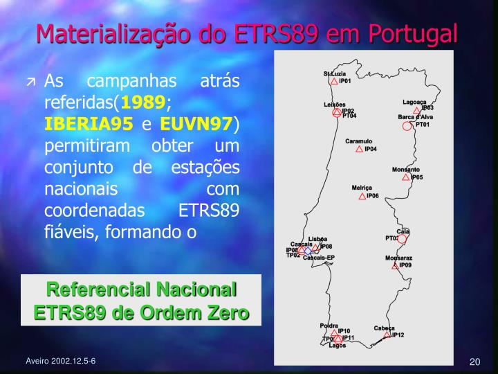 Materialização do ETRS89 em Portugal