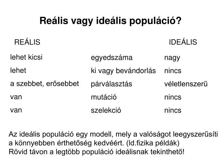 Reális vagy ideális populáció?