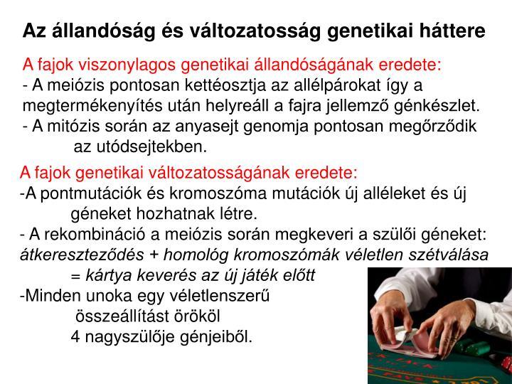 Az llandsg s vltozatossg genetikai httere
