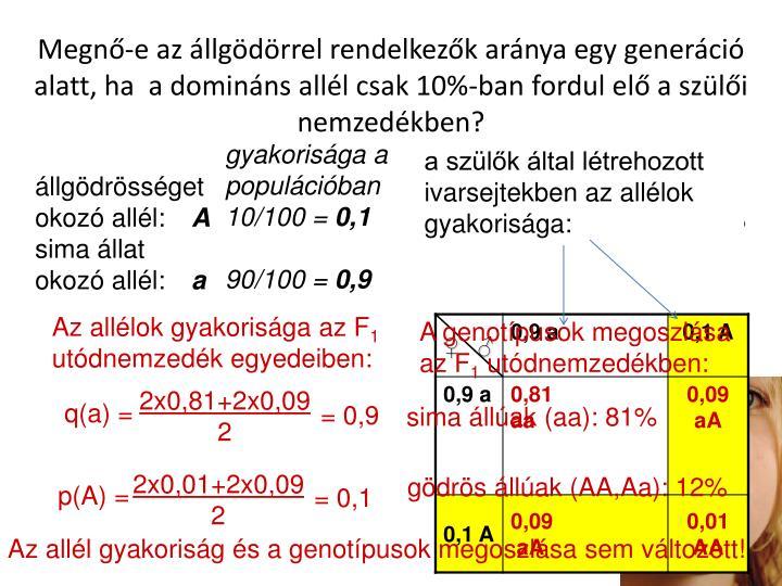 Megn-e az llgdrrel rendelkezk arnya egy generci alatt, ha  a dominns alll csak 10%-ban fordul el a szli nemzedkben?