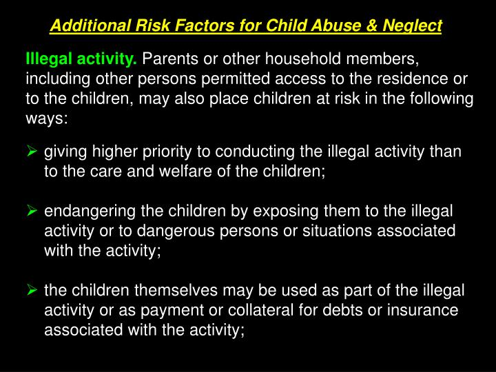 Additional Risk Factors for Child Abuse & Neglect