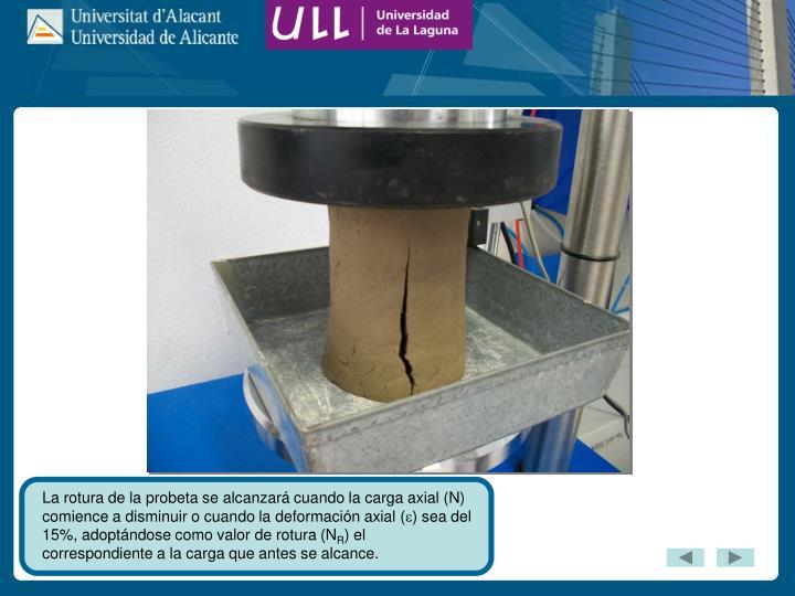 La rotura de la probeta se alcanzará cuando la carga axial (N) comience a disminuir o cuando la deformación axial (