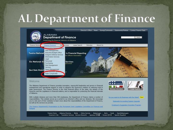 AL Department of Finance