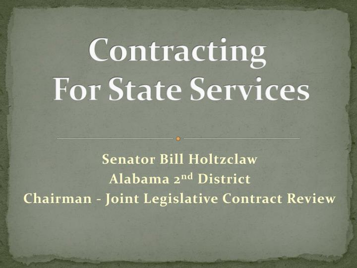 Contracting for state services