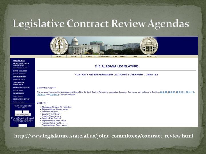 Legislative Contract Review Agendas