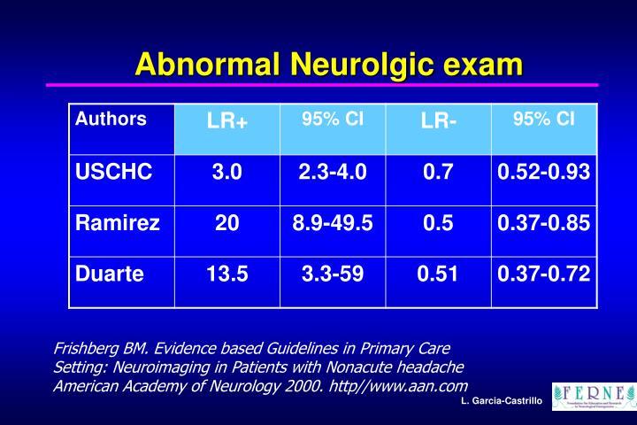 Abnormal Neurolgic exam