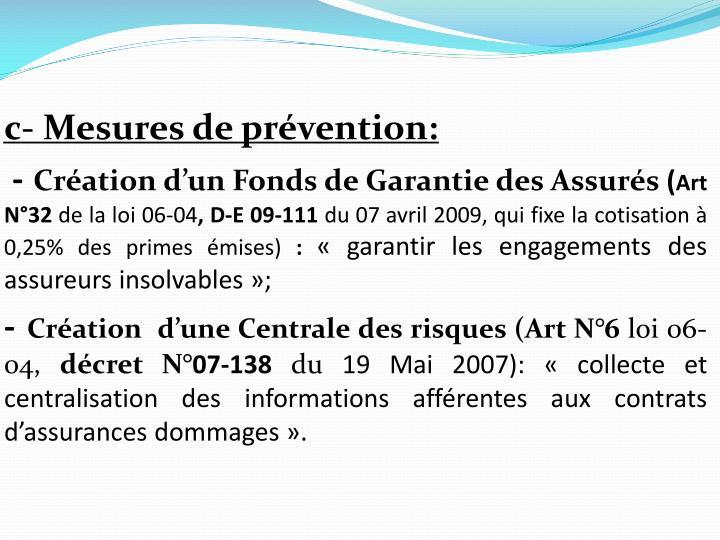 c- Mesures de prévention: