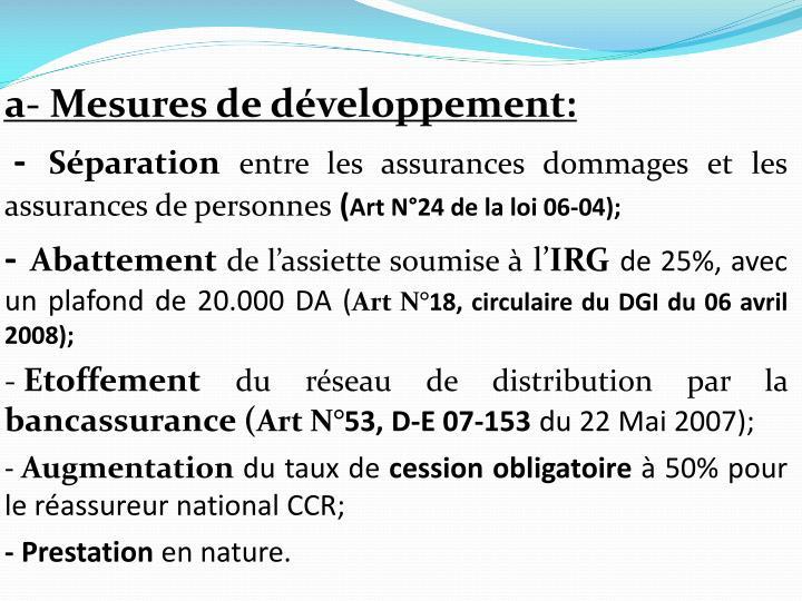 a- Mesures de développement